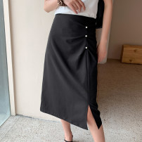 skirt Summer 2020 S,M,L,XL black Mid length dress Versatile High waist A-line skirt Solid color 18-24 years old EW20Z3014D 71% (inclusive) - 80% (inclusive) other Keely / Yi · Li polyester fiber