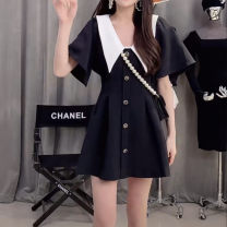 Dress Spring 2021 Black, white S,M,L Short skirt singleton  Short sleeve V-neck High waist zipper A-line skirt Type A