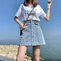 skirt Summer 2021 S M L XL wathet Short skirt commute High waist A-line skirt Solid color 18-24 years old YL6101 More than 95% Denim Wait for maple cotton Button Cotton 98% other 2%
