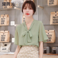 Lace / Chiffon Summer 2020 S M L XL 2XL 3XL Short sleeve commute Socket singleton  Straight cylinder Regular V-neck Solid color routine 18-24 years old Huang qianer Bow tie Korean version Other 100% Pure e-commerce (online only)