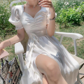 Dress Spring 2021 white S,M,L longuette singleton  Long sleeves commute V-neck High waist Solid color Single breasted A-line skirt pagoda sleeve 25-29 years old Type A Lace 30% and below other polyester fiber