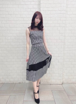 Dress Spring 2021 Average size Middle-skirt singleton  Long sleeves commute Crew neck middle-waisted Decor zipper One pace skirt routine camisole 25-29 years old Type H Printing, splicing More than 95% Chiffon polyester fiber