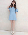 Dress Spring 2021 Black, white, denim blue Average size longuette singleton  Long sleeves commute Crew neck High waist Solid color Socket A-line skirt routine camisole 25-29 years old Type A Lace, lace polyester fiber