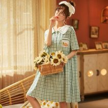 Pajamas / housewear set female Other / other M,L,XL,XXL cotton Short sleeve Sweet Leisure home summer routine Small lapel lattice Socket youth 2 pieces pure cotton printing gold Middle-skirt