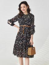 Dress Spring 2021 Black. Black has a belt M,4XL,XL,5XL,2XL,3XL,L,S Mid length dress singleton  Nine point sleeve Crew neck High waist Socket routine 25-29 years old 9 Charms 9m