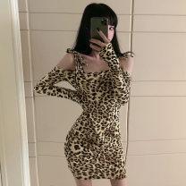 Dress Autumn 2020 Leopard Print S,M,L,XL Short skirt singleton  commute High waist Leopard Print Socket One pace skirt Type H Play the flute other