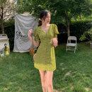 Women's large Summer 2021 green M L XL XXL Dress singleton  commute Self cultivation thin Socket Short sleeve Korean version V-neck Lotus leaf sleeve Pose adjustment kiss 18-24 years old 31% (inclusive) - 50% (inclusive) Medium length Polyester 65% Cotton 30% polyurethane elastic fiber (spandex) 5%