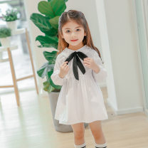 Dress white female Other / other The recommended height is 90C'm for size 7, 100C'm for size 9, 110C'm for size 11, 120c'm for size 13 and 130c'm for size 15 Other 100% spring and autumn Korean version Long sleeves Solid color cotton Pleats YY5878 Class B