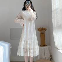 Dress Spring 2021 Picture color, q S,M,L,XL singleton  Long sleeves commute Crew neck High waist Solid color zipper Ruffle Skirt pagoda sleeve Others 18-24 years old Type H Other / other other other