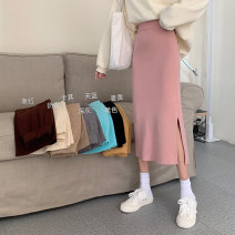 skirt Spring 2021 Average size Dark gray, black, pink, khaki, ginger, sky blue, jujube, cream apricot, Q commute High waist skirt Solid color Type A 18-24 years old Other / other other