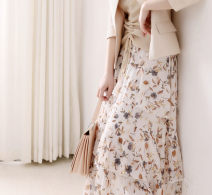 skirt Summer 2021 Average size Naked low flowers, beige low broken flowers, light blue low flowers, pink bottom flowers, black bottom broken flowers longuette Retro High waist Cake skirt Decor Type A More than 95% Other / other other printing