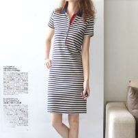 Dress Summer 2021 M,L,XL,2XL,3XL Mid length dress singleton  Short sleeve commute Polo collar middle-waisted stripe Socket A-line skirt routine Type A Other / other Simplicity 51% (inclusive) - 70% (inclusive) knitting cotton