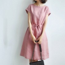 Dress Spring 2021 Navy, pink S,M,L,XL longuette singleton  Short sleeve commute Crew neck Elastic waist Solid color Socket A-line skirt other Others 25-29 years old Type X Other / other Simplicity Frenulum 81% (inclusive) - 90% (inclusive) other hemp
