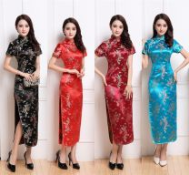 cheongsam Autumn 2020 Short sleeve long cheongsam Retro High slit perform Oblique lapel Decor 25-35 years old Piping polyester fiber 81% (inclusive) - 90% (inclusive)