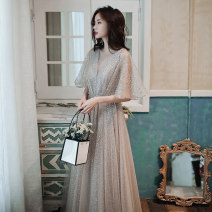 Dress / evening wear Weddings, adulthood parties, company annual meeting, performance date XS S M L XL XXL Grey bf-1100 Korean version longuette middle-waisted Winter of 2019 Fall to the ground U-neck Bandage 18-25 years old YWR19234 Short sleeve Nail bead Solid color Yuwanru Lotus leaf sleeve other
