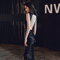 Dress / evening wear Weddings, adulthood parties, company annual meeting, performance date XS S M L XL XXL black Korean version longuette middle-waisted Autumn of 2019 fish tail Deep collar V zipper 18-25 years old YWR19175 Sleeveless Nail bead Solid color Yuwanru other Other 100% other Sequins