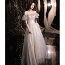Dress / evening wear Wedding party company annual meeting performance date XS S M L XL XXL Champagne bf-1426-2 grace longuette middle-waisted Spring 2021 Fall to the ground One shoulder Bandage 18-25 years old YWR20172 Sleeveless Nail bead Solid color Yuwanru other Other 100% other Sequins