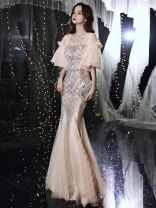 Dress / evening wear The company's annual convention performance date XS S M L XL XXL Champagne 027-1, bf-1412, bf-1124-2, 7005-1, bf-1283-3, bf-1311-2, bf-1351-2 Korean version longuette middle-waisted Winter 2020 fish tail Deep collar V zipper 18-25 years old YWR20127 Long sleeves Embroidery other