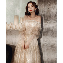 Dress / evening wear The company's annual convention performance date XS S M L XL XXL Champagne bf-1403 Korean version longuette middle-waisted Winter 2020 Fall to the ground One shoulder zipper 18-25 years old YWR20137 Long sleeves Nail bead Solid color Yuwanru other Other 100% other Sequins
