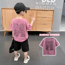T-shirt White Rose Changing trend children 110cm 120cm 130cm 140cm 150cm 160cm 170cm male summer Short sleeve Crew neck leisure time There are models in the real shooting nothing Cotton blended fabric Cartoon animation Cotton 93.6% polyurethane elastic fiber (spandex) 6.4% Class B Sweat absorption