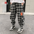 trousers Changing trend children male 110cm 120cm 130cm 140cm 150cm 160cm Black and white check spot hair size enough not greedy big spring and autumn trousers leisure time There are models in the real shooting Casual pants Leather belt middle-waisted other Don't open the crotch Cxxk21115 Class B
