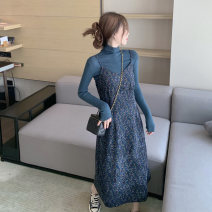 Women's large Winter 2020 Suspender skirt top S M L commute Straight cylinder Long sleeves Solid flower Korean version Pile collar routine Three dimensional cutting routine qhI8u Qingchuan 18-24 years old Medium length Other 100% Pure e-commerce (online only) Princess Dress
