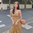 Women's large Summer 2020 Yellow spot S M L Dress singleton  commute Self cultivation Socket Sleeveless houndstooth  Retro V-neck Qingchuan longuette Other 100% Pure e-commerce (online only)
