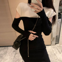 Women's large Winter 2020 Black and white patchwork dress S M L commute Self cultivation Long sleeves Solid color Korean version Crew neck Medium length Three dimensional cutting routine jy65I Qingchuan 18-24 years old Other 100% Pure e-commerce (online only)