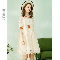 Dress Summer of 2019 Apricot M L Middle-skirt Two piece set Short sleeve street Crew neck Loose waist Solid color Socket A-line skirt routine 30-34 years old Type A Binli / Binli Embroidery gauze BL19SS1106 More than 95% polyester fiber Polyethylene terephthalate (polyester) 100% Europe and America