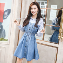 Dress Autumn 2020 Picture color S,M,L,XL,2XL Mid length dress Fake two pieces Long sleeves commute Hood Elastic waist Solid color Socket A-line skirt routine Others 18-24 years old Other / other Korean version Pockets, panels, buttons 81% (inclusive) - 90% (inclusive) Denim cotton