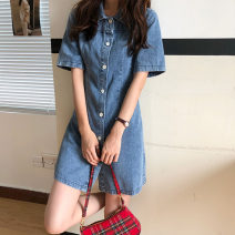 Dress Summer 2020 blue S,M,L Short skirt singleton  Short sleeve commute Polo collar High waist Single breasted A-line skirt routine 18-24 years old Type A Korean version 71% (inclusive) - 80% (inclusive) Denim cotton