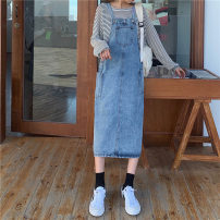 Dress Autumn 2020 blue S,M,L,XL Mid length dress singleton  Sleeveless commute other High waist Solid color Socket A-line skirt other straps 18-24 years old Type A Korean version 71% (inclusive) - 80% (inclusive) Denim cotton