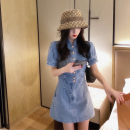 Dress Summer 2020 Picture color S,M,L Short skirt singleton  Short sleeve commute Polo collar High waist Solid color Single breasted A-line skirt Princess sleeve Others 18-24 years old Type A Korean version Old, button Denim