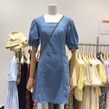 Dress Summer 2020 Light blue S,M,L Miniskirt singleton  Short sleeve commute square neck High waist Solid color Socket other routine Others 18-24 years old Type H Korean version 30% and below other other