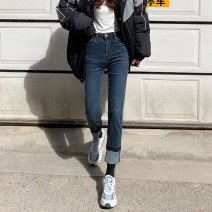 Jeans Spring 2021 Light blue, black grey, blue grey S,M,L,XL trousers High waist Straight pants routine 18-24 years old Cotton elastic denim Dark color 71% (inclusive) - 80% (inclusive)