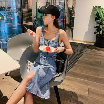 Dress Summer 2020 Picture color S,M,L,XL Mid length dress singleton  Sleeveless commute One word collar Solid color other straps 18-24 years old Type H Other / other Korean version