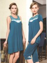 Pajamas / housewear set female Cherie For female M / 155, 95-105 kg is recommended, for female L / 160, 106-130 kg is recommended, and for female XL / 165, 131-150 kg is recommended Peacock blue, skirt viscose  Long sleeves Simplicity Leisure home summer Thin money Solid color youth 2 pieces modal