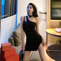 Dress Summer of 2019 black S M L Short skirt singleton  Sleeveless commute Slant collar High waist Solid color Socket One pace skirt routine Oblique shoulder 18-24 years old Type H Fidowei Korean version Open back asymmetric W30283# More than 95% brocade polyester fiber Other polyester 95% 5%