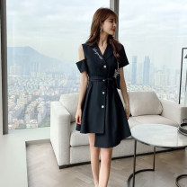 Dress Summer 2021 black S M L XL XXL Short skirt singleton  Short sleeve commute tailored collar High waist Solid color Single breasted One pace skirt other Others 18-24 years old Type A Fidowei Korean version Asymmetric bandage HCFS5021# More than 95% brocade polyester fiber Other polyester 95% 5%