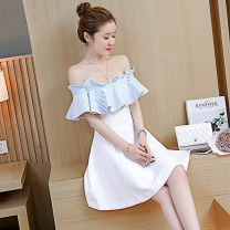 Dress Fall 2017 white XS S M L XL Short skirt singleton  Short sleeve commute One word collar High waist Solid color Socket A-line skirt other Breast wrapping 18-24 years old Type A Fidowei Korean version Open back wave with lotus edge D99892# More than 95% brocade polyester fiber
