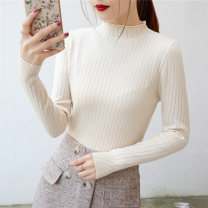 Wool knitwear Autumn of 2018 M,L,XL,S Yellow, black, gray, beige, bluegray, pink Long sleeves singleton  Socket cotton 31% (inclusive) - 50% (inclusive) Regular routine commute Self cultivation High collar routine Solid color Socket Korean version YP-0888 Pansyity