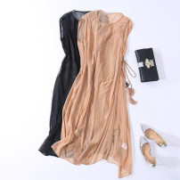 Dress Summer 2021 Champagne, black S,XL,L,M Mid length dress Two piece set Sleeveless commute Crew neck High waist Solid color zipper A-line skirt routine Others 30-34 years old Type A Ol style Embroidery, stitching MA049C More than 95% Crepe de Chine silk