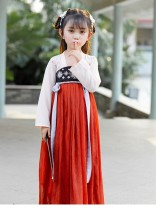 Tang costume Red, white, Hanfu top 100,110,120,130,140,150 Other 100% female summer Thin money Tagkita / she and others Five, six, seven, eight, nine, ten, eleven, twelve, thirteen, fourteen