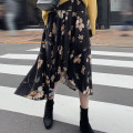 skirt Winter of 2019 S,M,L,XL Black flowers Mid length dress commute High waist Irregular Type A other Other / other other Simplicity