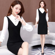 Dress Autumn of 2019 black L XL 2XL 3XL 4XL 5XL Mid length dress singleton  Long sleeves commute Scarf Collar middle-waisted Solid color Socket A-line skirt Flying sleeve Others 35-39 years old Princess Cathy Korean version Stitching buttons DL-B164 More than 95% polyester fiber