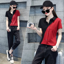 T-shirt Black for red, white for black M L XL 2XL Summer 2021 Short sleeve Polo collar Straight cylinder Regular routine commute cotton 86% (inclusive) -95% (inclusive) 25-29 years old Korean version originality Color matching 72 changes / 72 transformer LFH6937 Pure e-commerce (online only)