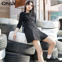 Dress Autumn 2020 J35510 wash denim 510 Jeans Blue, S01 black black 155/76A/XS,160/80A/S,165/84A/M,170/88A/L,175/92A/XL Short skirt singleton  Short sleeve commute Crew neck High waist Solid color Single breasted A-line skirt routine 18-24 years old ONLY Simplicity Pocket, button other