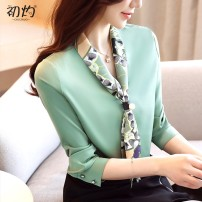 Lace / Chiffon Spring 2020 White, green, collect and give gifts S,M,L,XL,2XL Long sleeves commute Socket Straight cylinder Regular stand collar shirt sleeve Fold, print, stitching, button Korean version