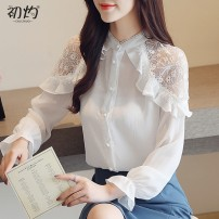 Lace / Chiffon Autumn of 2019 white S,M,L,XL,2XL Long sleeves commute Cardigan singleton  Straight cylinder Regular stand collar Solid color shirt sleeve Other / other Bowknot, tuck, stitching, button, lace