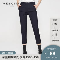 Casual pants Dark blue orange red 155/62A 155/64A 160/66A 160/68A 165/72A 170/74A Spring of 2018 Ninth pants Pencil pants High waist commute routine 25-29 years old Me&City Retro Wool 49% polyester 48% polyurethane elastane 3%